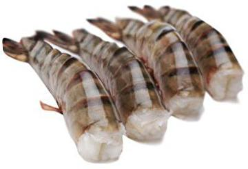 Black Tiger prawn tails peeled cooked without fins 16/20 IQF